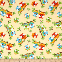 Comfy Flannel Prints Sitting Owls Beige