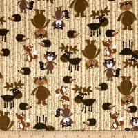 Comfy Flannel Prints Woodland Animals On Woodgrain Ground Brown