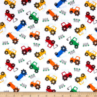 Comfy Flannel Prints Tractors White