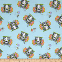 Comfy Flannel Prints Hedgehog With Flowers In Hand Blue