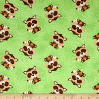 Comfy Flannel Prints Sitting Raccoon With Nut Green