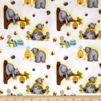 Comfy Flannel Prints Honey Bees Bears White