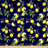 Telio Bloom Stretch Cotton Sateen Lemon Navy
