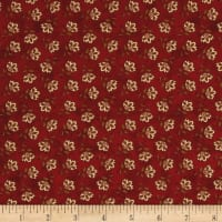 Chicks On The Run Tossed Jacobean Flower Dark Red