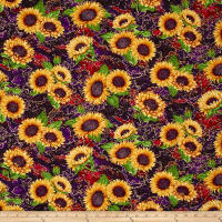 Benartex Here Comes The Sun Metallic Sunflower Clusters Purple