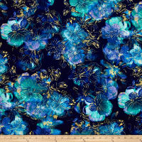 Kanvas Floral Impressions Photo Navy/Turquoise