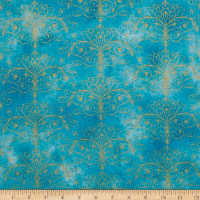 Kanvas Floral Impressions Washed Tonal Filigree Turq Gold