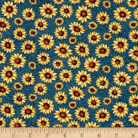 Benartex Sunshine Garden Sunflowers Medium Blue