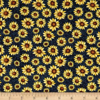Benartex Sunshine Garden Sunflowers Navy