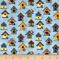 Benartex Sunshine Garden Bird Houses Blue