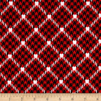 Kanvas Scottish Charm Houndtooth Hearts Red