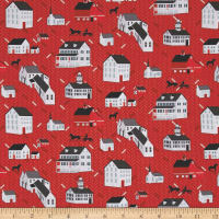 Folk Art Fantasy Houses Red