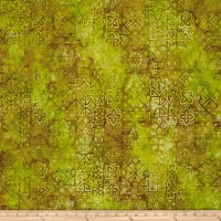 Bali Batiks Meadow Song Medallions Lime/Cocoa