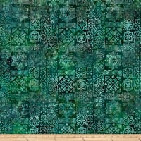 Bali Batiks Meadow Song Medallions Emerald Forest