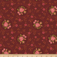 Benartex Homestead: Colonial Rosette Burgundy