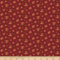Benartex Homestead: Colonial Rose Buds Burgundy