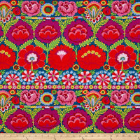 Kaffe Fassett Artisan Embroidered Flower Border Red