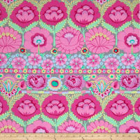 Kaffe Fassett Artisan Embroidered Flower Border Pink