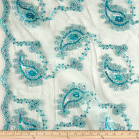 Coco Paisley Sequin Double Border Lace Mint