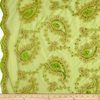 Coco Paisley Sequin Lace Lime Gold