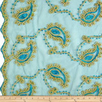 Coco Paisley Sequin Double Border Lace Turquoise Gold