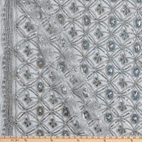 Coco Star Sequin Double Border Lace Silver