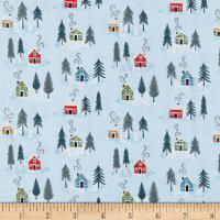 Lewis & Irene Snow Day Houses Metallic Pearlized Accent Icy Blue