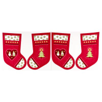 "Lewis & Irene Christmas Hygge Christmas Stockings 18"" Panel Christmas Red"