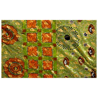 Supreme Osikani African Print 6 Yards Green/Orange/Gold Foil