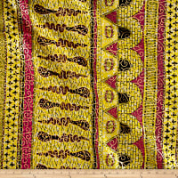 Supreme Osikani African Print 6 Yards Yellow/Pink/Gold Foil