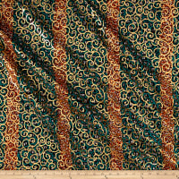 Supreme Osikani African Print 6 Yards Green/Gold Foil