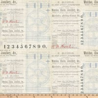 "Tim Holtz Dapper Gears 26"" Panel Neutral"