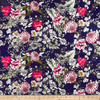 Telio Bloom Cotton Stretch Sateen Print Navy