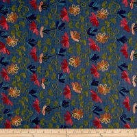 Telio Floral Embroidered Chambray Medium Blue