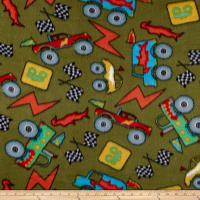 Polar Fleece Monster Trucks Olive