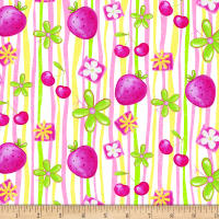 Tutti Fruitti Plisse Strawberry Stripe Pink