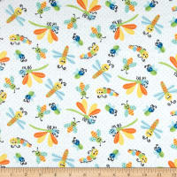Printed Flannel Bugs White