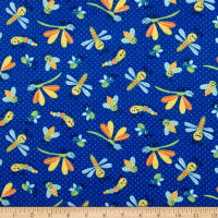 Printed Flannel Bugs Dark Blue