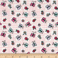 Printed Flannel Butterfly Pink