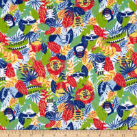 Printed Flannel Jungle Animals Red
