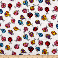 Printed Flannel Lady Bugs White