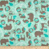 Printed Flannel Forest Toile Aqua