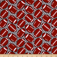 Printed Flannel Footballs Grey