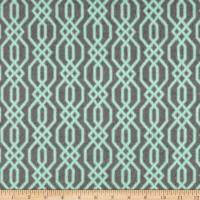 Flannel Fretwork Mint on Grey