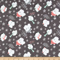 Printed Flannel Polar Cubs  Grey