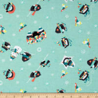 Penguins Flannel Light Blue
