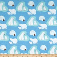 Polar Bears Flannel Blue