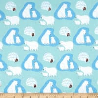 Polar Bears Flannel Light Blue