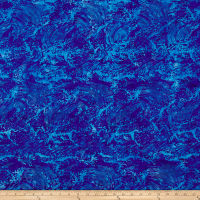 Island Batik Pressed Petals Waves Blueberry