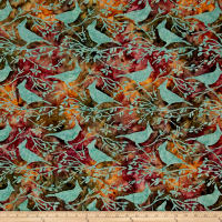 Island Batik Autumn's Grace Crowned Bird Dusk